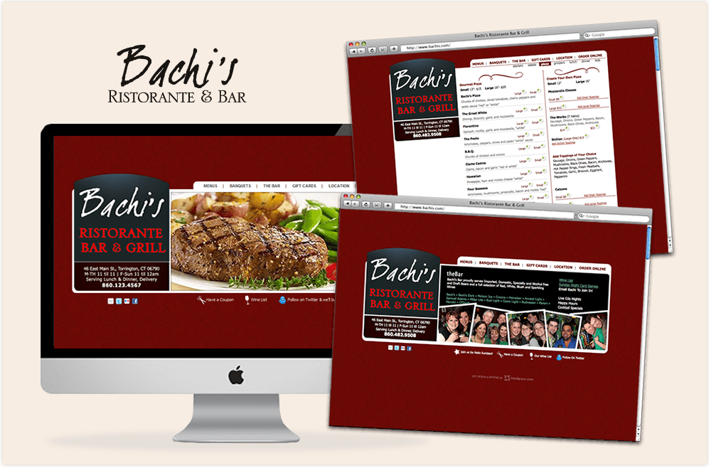 digital Bachi's Ristorante site with Online Ordering