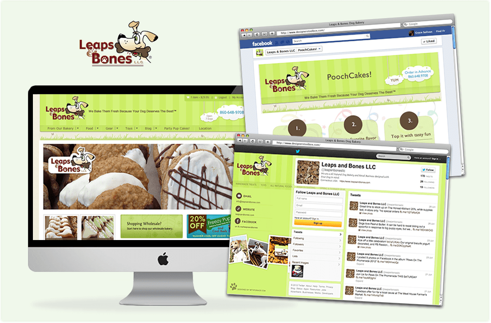 digital Leaps & Bones Dog Bakery Ecommerce Site